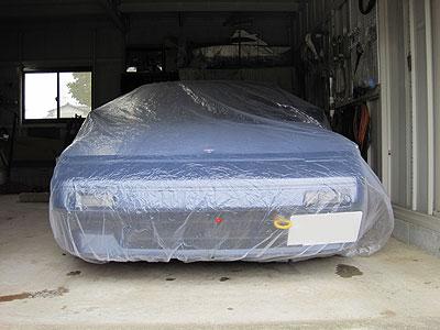 養生カバーでガレージに封印されるMR2AW11